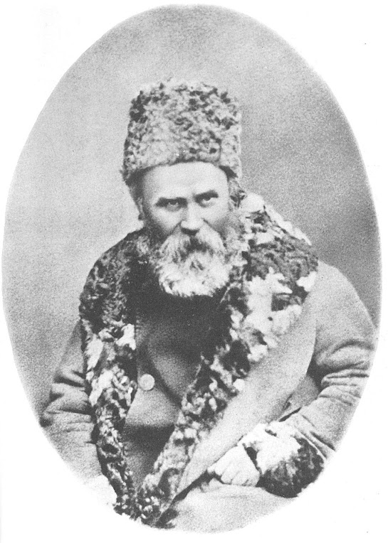 Перше фото: шевченко з бородою в шапці