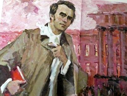 Тарас Шевченко біля Червоного корпусу Київського університету. Фотокопія фрагменту картини написаної олією 80 рр ХХ ст.